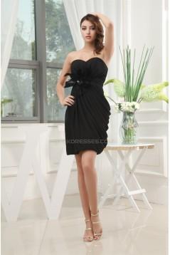 Side Drapping Sweetheart Silk like Satin Little Black Dresses 02021080