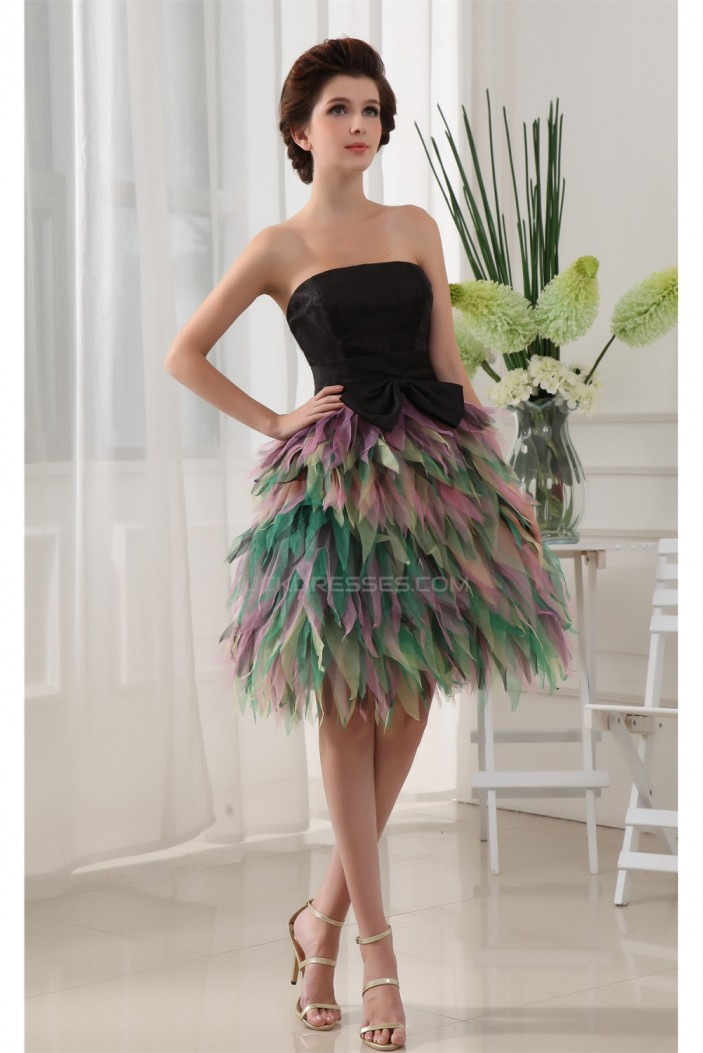 Sleeveless Strapless Satin Tulle A-Line Homecoming Dresses 02021082