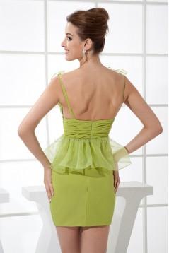 Knee-Length Chiffon Organza Silk like Satin Prom/Formal Evening Dresses 02021084