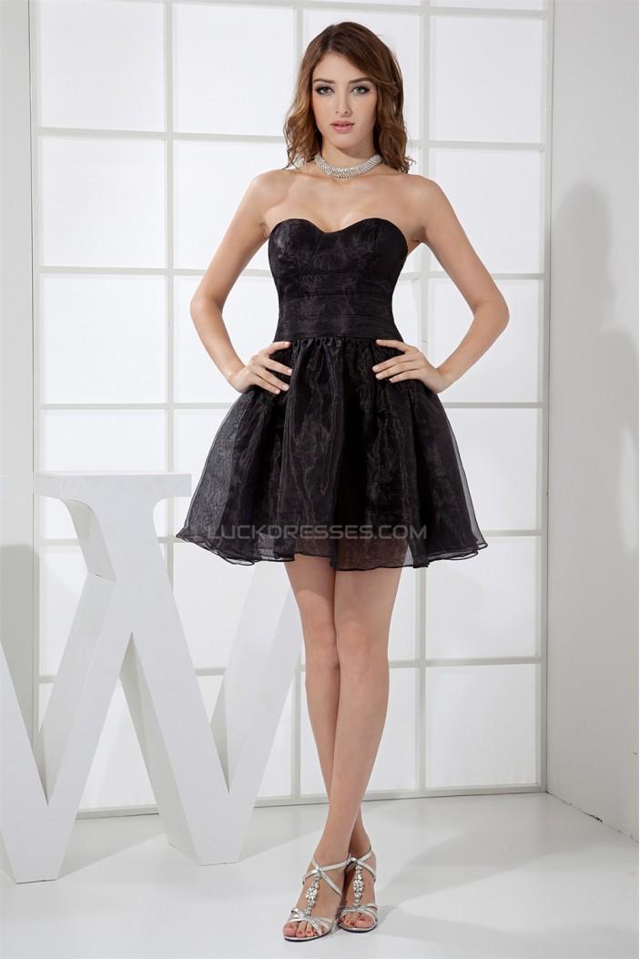 Knee-Length Pleats A-Line Sleeveless Strapless Little Black Dresses 02021085