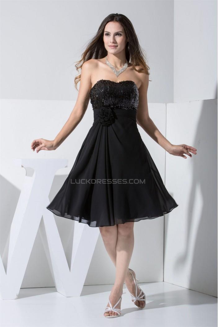 Knee-Length Ruffles Chiffon Silk like Satin Little Black Dresses 02021086