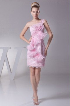 Knee-Length Sheath/Column Beading One-Shoulder Evening Party Dresses 02021087