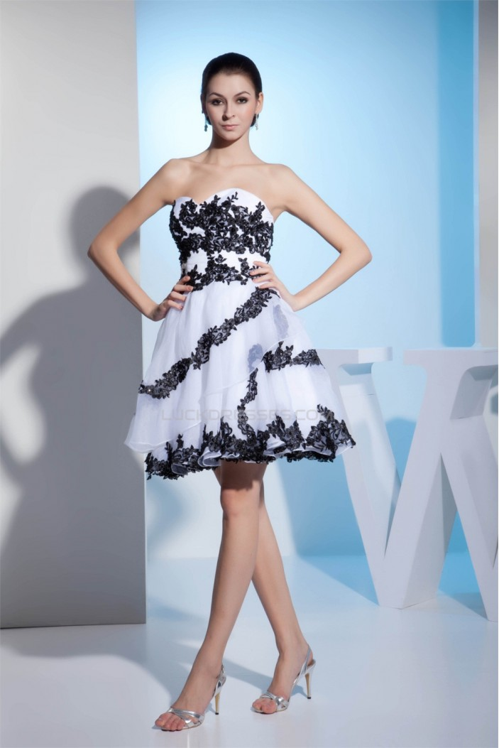 Knee-Length Sleeveless Satin Lace Organza Homecoming Cocktail Party Dresses 02021089