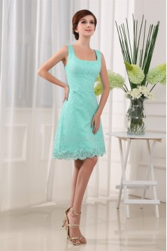 A-Line Knee-Length Square Sleeveless Lace Prom/Formal Evening Dresses 02021090