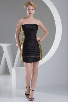 Knee-Length Strapless Satin Sequins Pleats Little Black Dresses 02021092