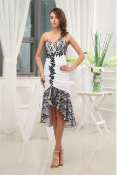 Mermaid/Trumpet Asymmetrical Satin Taffeta Lace Homecoming Dresses 02021094