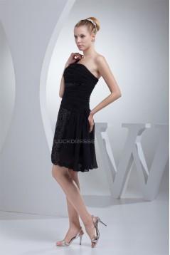 A-Line Short/Mini One-Shoulder Sleeveless Sequins Black Dresses 02021097