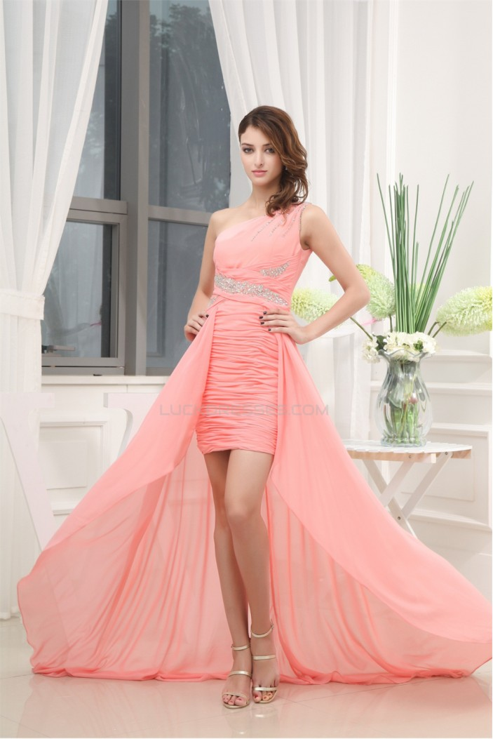 One-Shoulder Beading Puddle Train Satin Chiffon Prom/Formal Evening Dresses 02021099