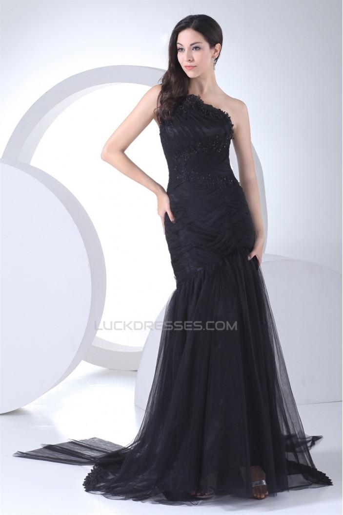 Brush Sweep Train Beading Mermaid/Trumpet One-Shoulder Long Black Prom/Formal Evening Dresses 02020110