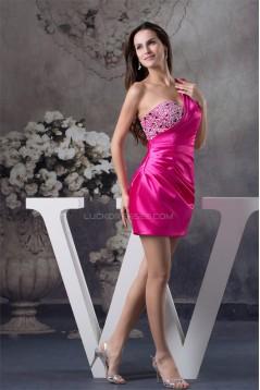 One-Shoulder Sheath/Column Silk like Satin Prom/Formal Evening Dresses 02021100