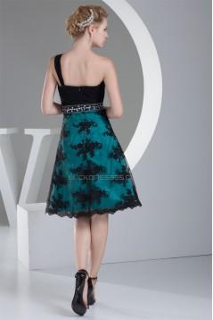 One-Shoulder Sleeveless Knee-Length Satin Chiffon Lace Prom/Formal Evening Dresses 02021102