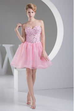 Organza Silk like Satin Sleeveless Short/Mini Homecoming Dresses 02021104