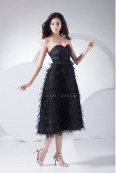 Pleats Taffeta Netting Tea Length Sleeveless Prom/Formal Evening Dresses 02021106