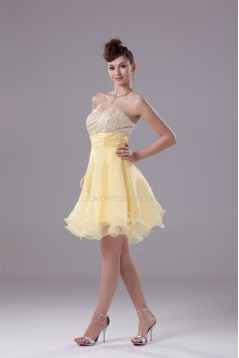 A-Line Ruched Organza Silk like Satin Sequined Material Prom/Formal Evening Dresses 02021107