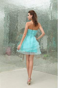A-Line Satin Organza Ruffles Sleeveless Cocktail Evening Dresses 02021110