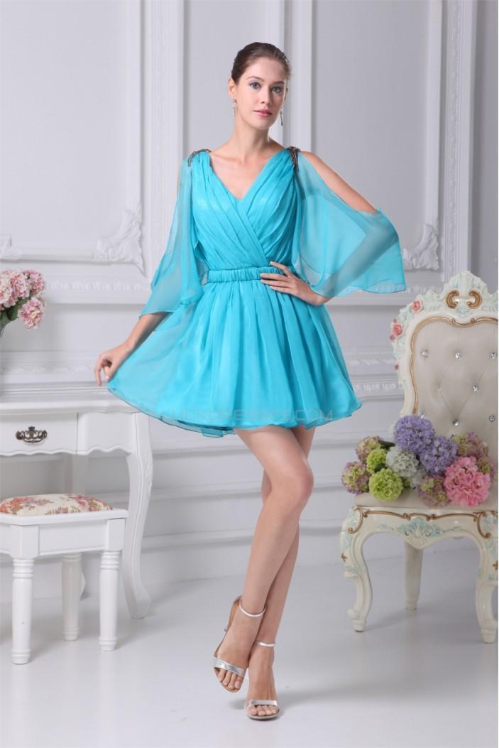 Ruffles Chiffon Silk like Satin Short/Mini Prom/Formal Evening Dresses 02021111