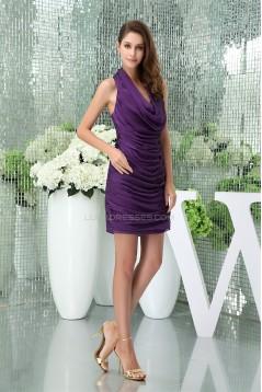 Ruffles Knee-Length Chiffon Silk like Satin Prom/Formal Evening Dresses 02021112