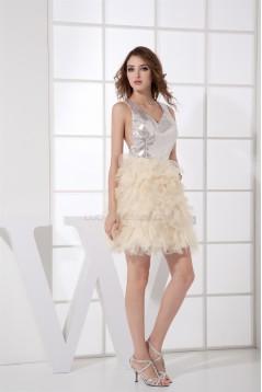 Ruffles Knee-Length Satin Lace Organza Fine Netting Prom/Formal Evening Dresses 02021113