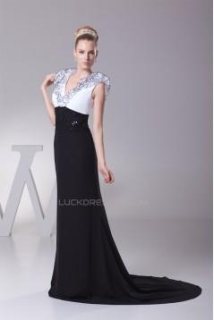 Trumpet/Mermaid Brush Sweep Train Chiffon Black White Long Prom/Formal Evening Dresses 02020112