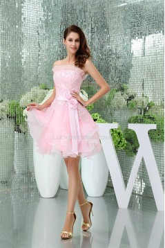 A-Line Satin Lace Organza Knee-Length Strapless Prom/Formal Evening Dresses 02021120