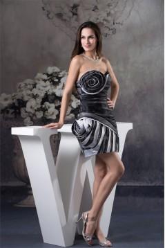 Satin Organza Sheath/Column Ruffles Strapless Prom/Formal Evening Dresses 02021124
