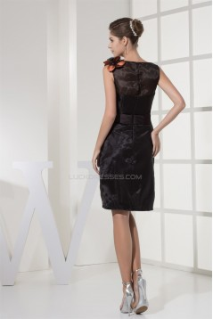Satin Organza Sheath/Column Short/Mini Prom/Formal Evening Dresses 02021125