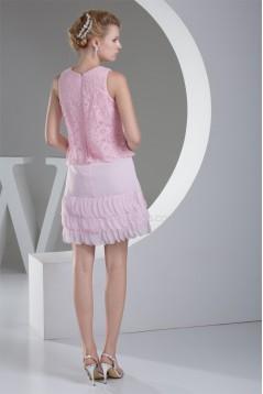 Scoop Satin Chiffon Lace Knee-Length Sheath/Column Bridesmaid Dresses 02021127