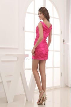 Scoop Silk like Short/Mini Sleeveless Ruffles Prom/Formal Evening Dresses 02021129