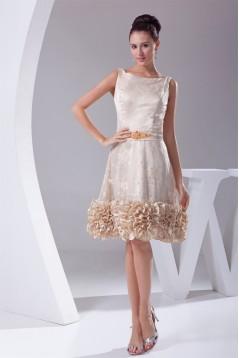 Sheath/Column Lace Silk like Satin Sleeveless Evening Party Dresses 02021137