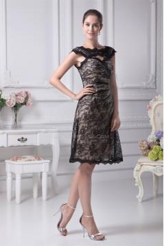 Sheath/Column Lace Sleeveless Straps Knee-Length Prom/Formal Evening Dresses 02021138