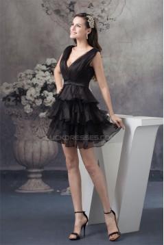 A-Line V-Neck Short Black Prom/Formal Evening Dresses 02021139