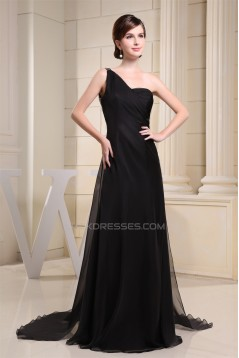 Brush Sweep Train One-Shoulder A-Line Chiffon Sequins Long Black Prom/Formal Evening Dresses 02020114