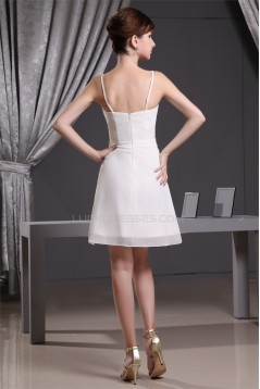 A-Line Beaded Short White Prom/Formal Evening Dresses 02021141