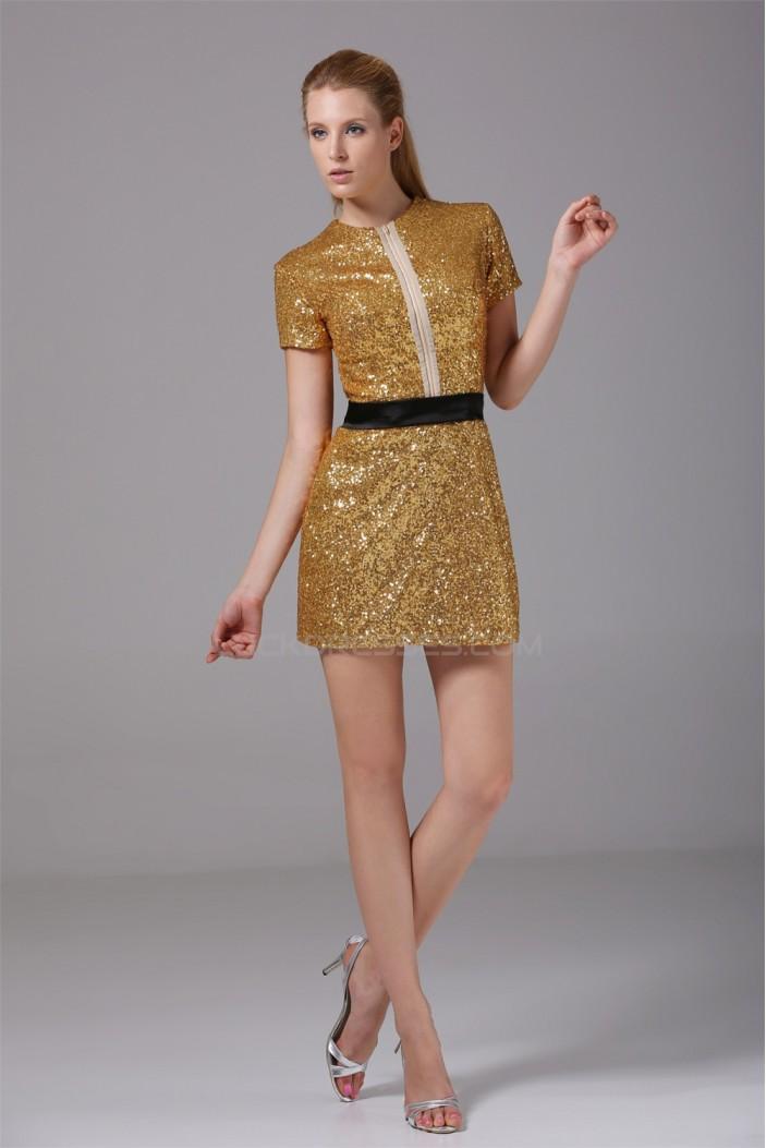 Sheath/Column Short/Mini Scoop Short Silk like Satin Sequined Fabric Sequins Dresses 02021150