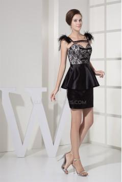 Sheath/Column Spaghetti Straps Lace Silk like Satin Prom/Formal Evening Dresses 02021155
