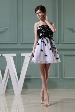 A-Line Short/Mini Handmade Flowers Chiffon Prom/Formal Evening Dresses 02021157