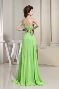 A-Line Brush Sweep Train One-Shoulder Sleeveless Long Prom Evening Bridesmaid Dresses 02020116