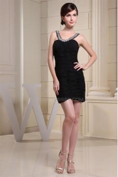 Short/Mini Criss Cross Sheath/Column Scoop Little Black Dresses 02021166