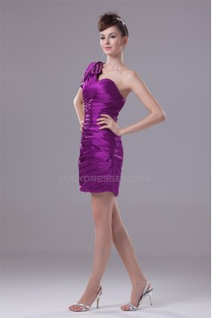 Short/Mini Elastic Woven Satin One-Shoulder Prom/Formal Evening Dresses 02021168