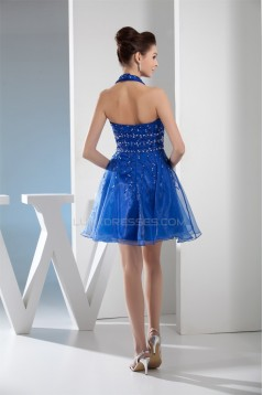 Short/Mini Halter Sleeveless Beading Organza Prom/Formal Evening Dresses 02021169