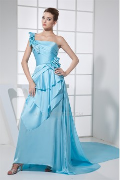 Brush Sweep Train One-Shoulder Sleeveless Long Blue Prom/Formal Evening Dresses 02020117