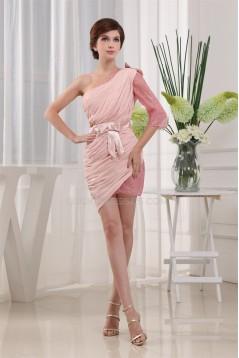 Short/Mini One-Shoulder Chiffon Lace Sleeveless Prom/Formal Evening Dresses 02021172