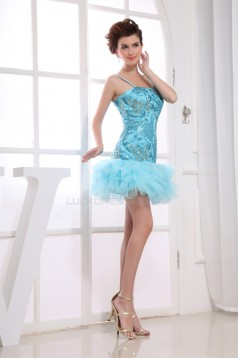 Short/Mini Ruffles Silk like Satin Fine Netting Prom/Formal Evening Dresses 02021176