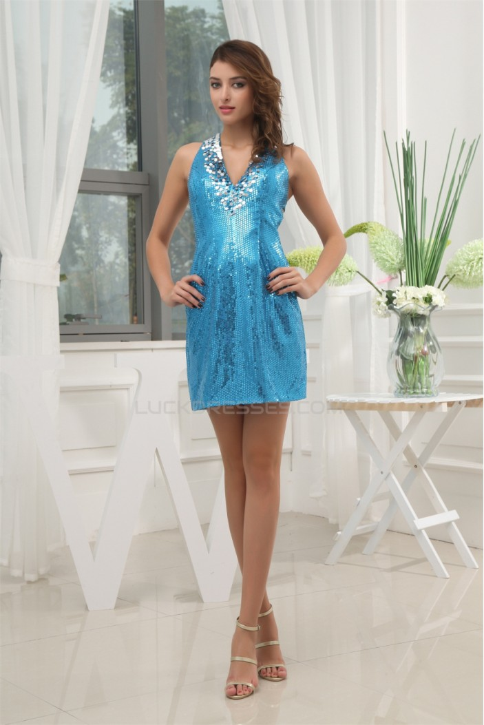 Short/Mini Sequined Material V-Neck Sheath/Column Prom/Formal Evening Dresses 02021179