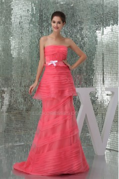 Brush Sweep Train Organza Long Prom Evening Formal Dresses 02020118