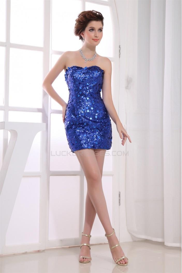 Short/Mini Silk like Satin Sequined Material Prom/Formal Evening Dresses 02021181