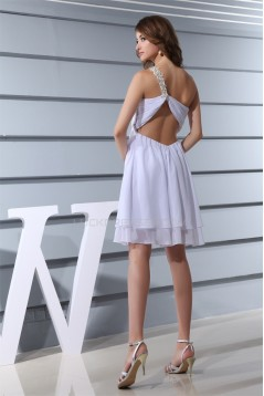 Short/Mini Sleeveless Chiffon One-Shoulder White Prom/Formal Evening Dresses 02021183