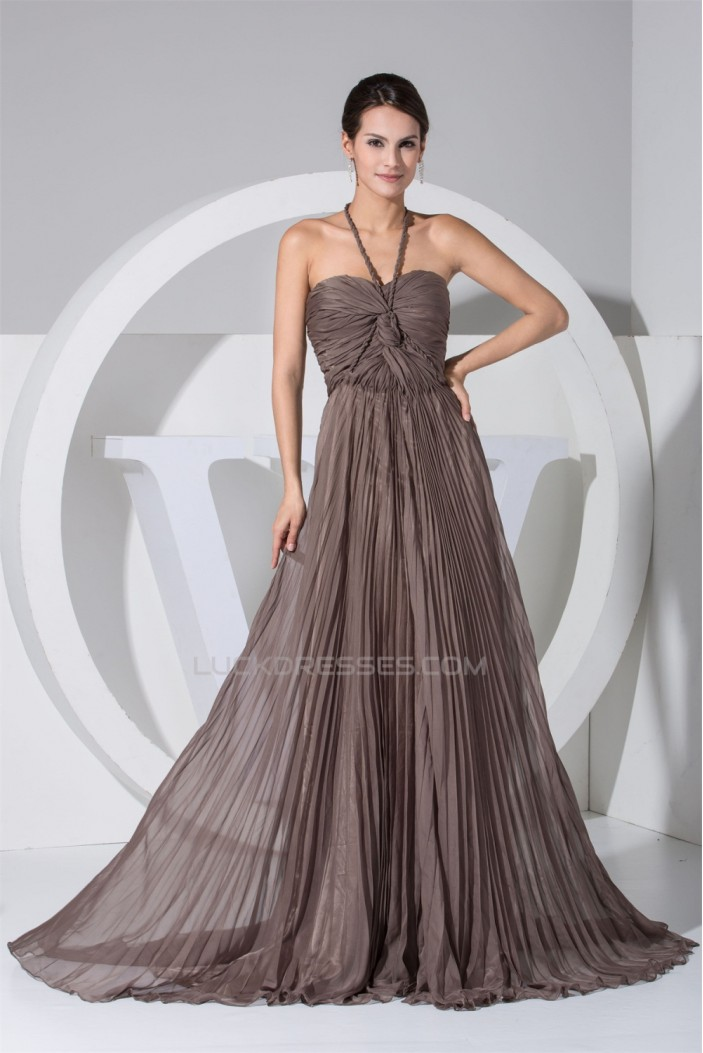 A-Line Halter Pleated Long Chiffon Prom/Formal Evening Dresses 02020119