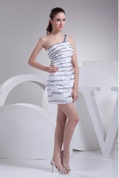 Silk like Satin Beading Short/Mini One-Shoulder Sequins Dresses 02021192