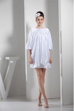 Silk like Satin Ruffles Sheath/Column Short/Mini Bridesmaid Dresses 02021196